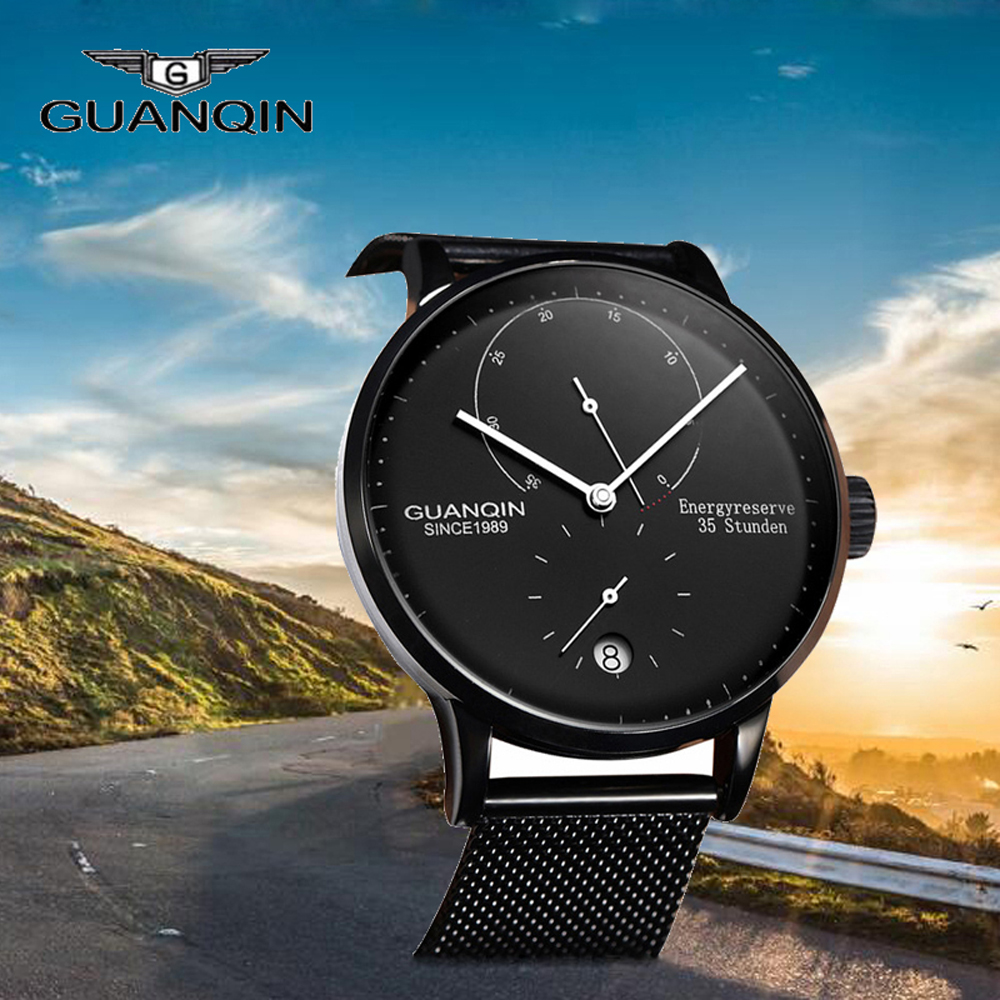 GUANQIN Top Brand Fashion Men Business Automatic Date Mesh Strap Watch Man Luxury Full Steel Mechanical Watch relogio masculino fashion business men