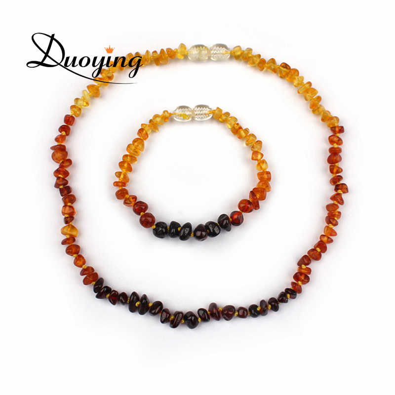 Rainbow Color Certified Natural Baltic Amber Baby Chew Bracelet& Teething Necklace Jewelry Set Gift For Infant Children
