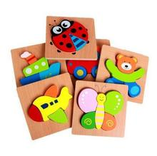 1PC Childrens Wooden Toys Jigsaw Puzzle Animal Traffic Learning 3D Three-dimensional Kids Montessori Toy