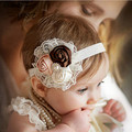 Baby Girl Elastic Headbands with Pearl Flower Hair Accessory Rose Hairband Headwear Hair Band Accessories
