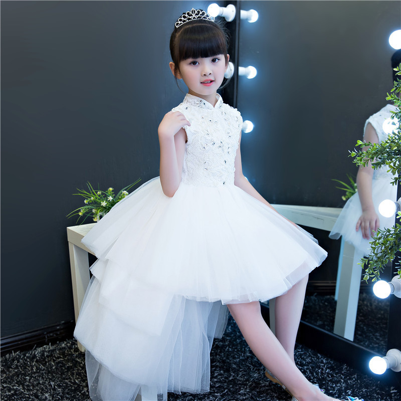 Chinese Style Elegant Layers Beading Crystal Flower Girl Dresses Kids Teens Glitz Trailing Birthday Party First Communion DressChinese Style Elegant Layers Beading Crystal Flower Girl Dresses Kids Teens Glitz Trailing Birthday Party First Communion Dress