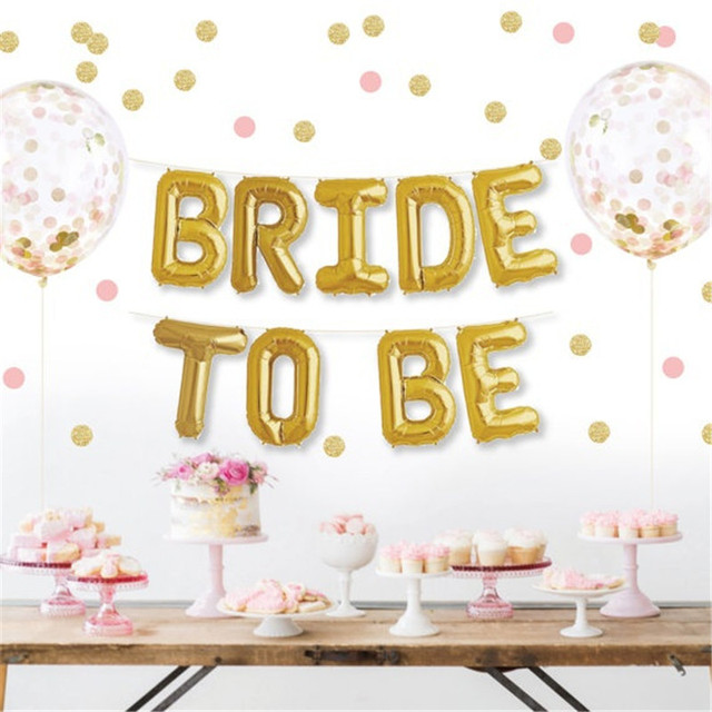 New 1set 16inch Gold Bride To Be Foil Letters Balloons
