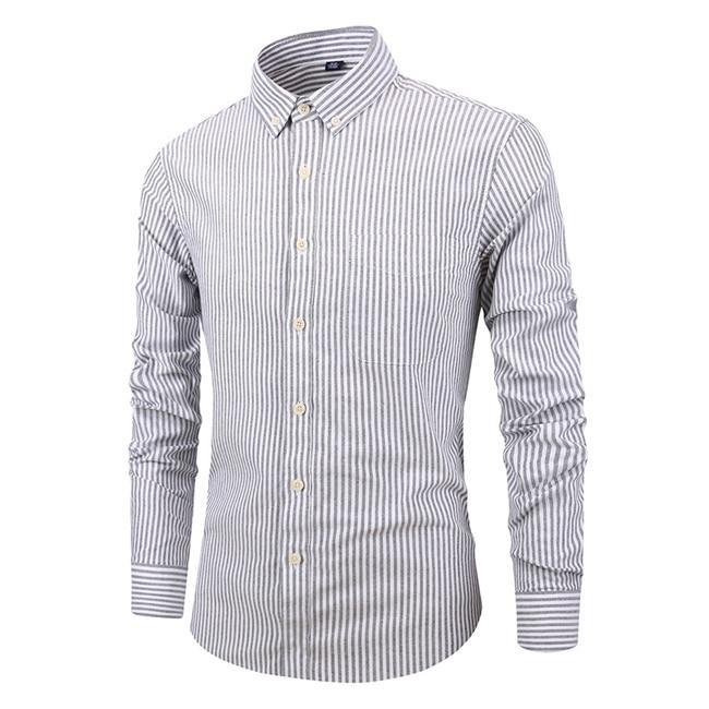 Men/'s Slim Fit Shirt Long Sleeve Striped Dress Shirts Button Down Casual Tops