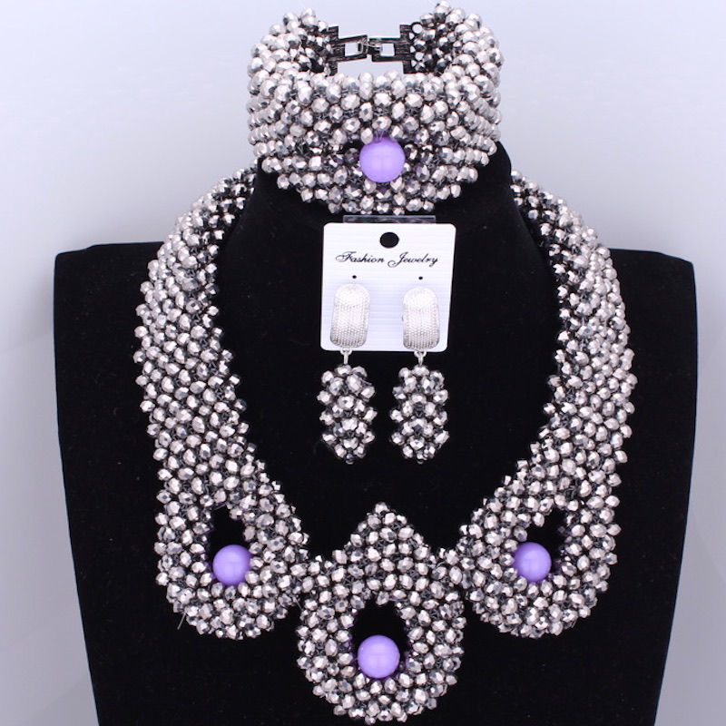 Dudo Jewelry Trendy African Beads Necklace Women Silver African Wedding Big Nigerian Jewelry Sets For Women