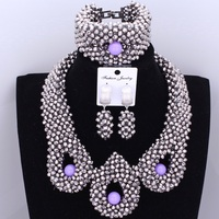 Dudo Jewelry Trendy African Beads Necklace Women Silver African Wedding Big Nigerian Jewelry Sets For Women 2018 Free Shipping