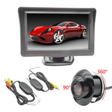 CCD Car Front Camera Double Control Lines+4.3″ TFT LCD Car Rear View Camera Monitor+2.4G Wireless Module Transmitter Receiver