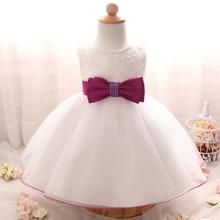 2017 Newborn White Dress For Baptism Sleeveless Baby Girl Lace Christening Gown Dress Toddler First Birthday Party Infant Wear