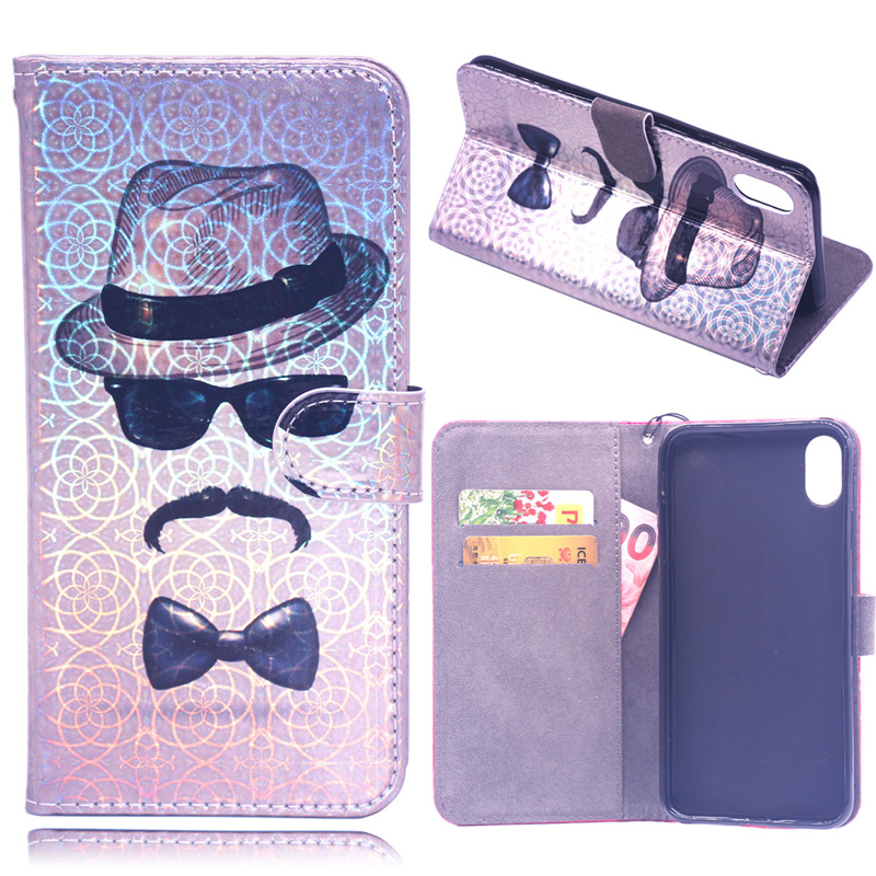 3D Laser Leather Flip Wallet Case Soft Phone Silicone Skin Cover Coque Funda for Apple iPhone 6 6S 7 8 Plus X XS MAX XR Cases in Flip Cases from Cellphones Telecommunications