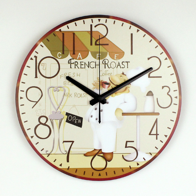 Cartoon Large Decorative More Silent Wall Clock For Dining Hall Wall