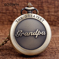 With Gift Box Bronze THE GREATEST Grandpa Pocket fob Watches Mens Retro Chain Roman Number Relogio De Bolso Grandfather's Gifts
