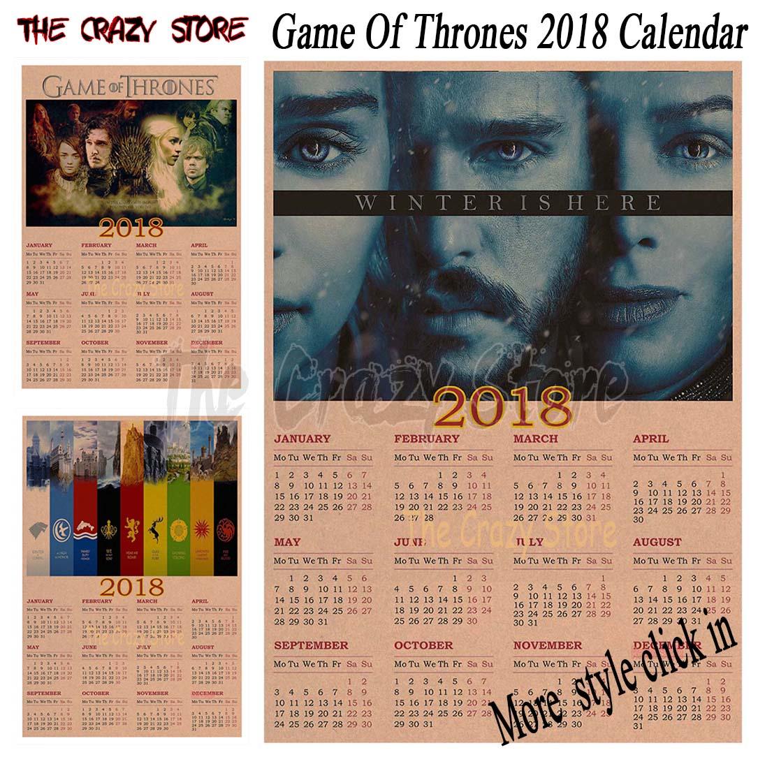 Wall Sticker Calendar Game Of Thrones 2018 Calendar Tv Poster Vintage Retro