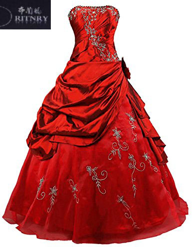 gothic red corset wedding dresses strapless puffy skirt