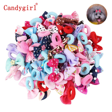 50pcs Pet Products Dog Hair Accessories Handmade Grooming Bow Little Flower Bows Small Dogs Charms Gift