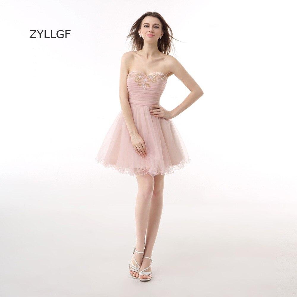 ZYLLGF hors épaule robe De bal une ligne chérie perlée courte Tulle robe De bal robes De bal en vente Q246