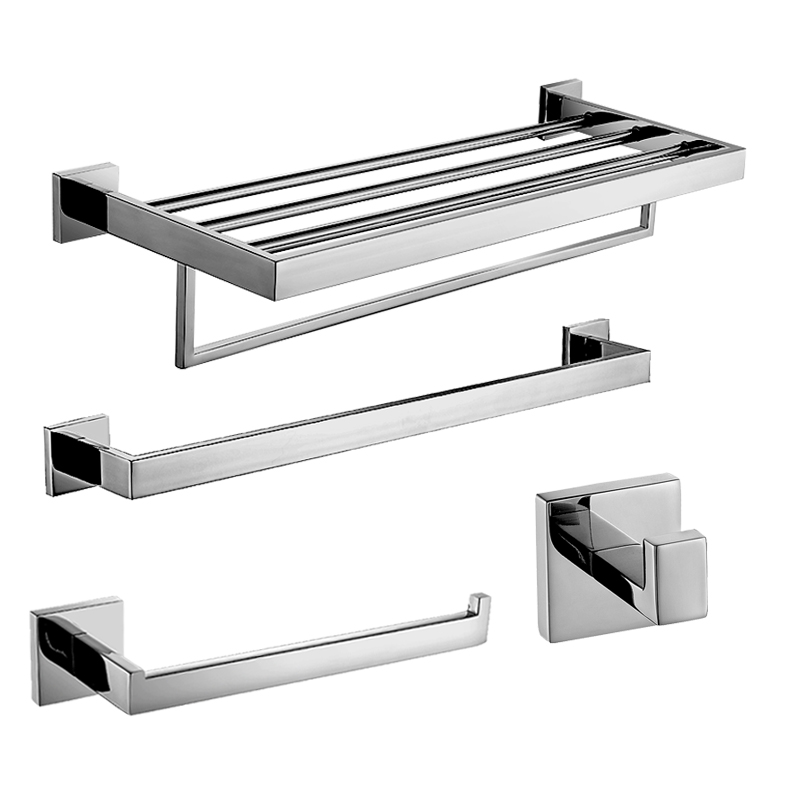 Modern Sus 304 Stainless Steel Silver Bathroom Accessories Sets Chrome Bath Hardware Set Square Base Polished Products In From