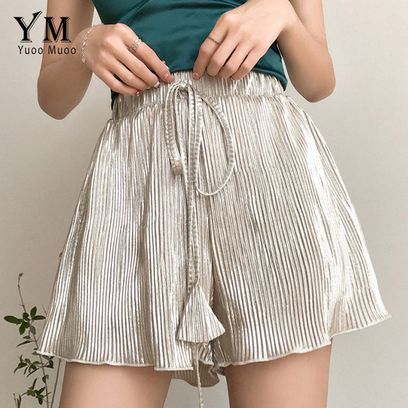 YuooMuoo New European Fashion   Shorts   Women Bottom Streetwear Solid Summer   Shorts   2018 High Waist Wide Leg   Shorts   Femme Hot