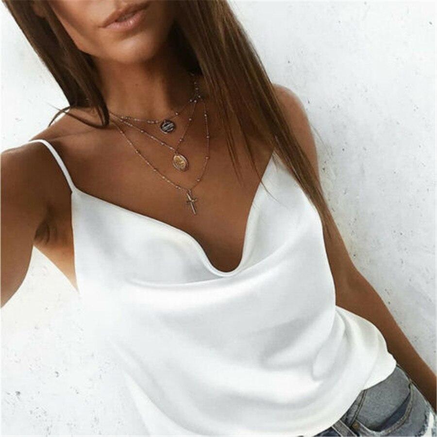 Hot Summer Slim Women's Sexy U-Neck Chiffon T-Shirt Loose Ladies Sleeveless Tank Top 4 Colour S-XL 2019 New