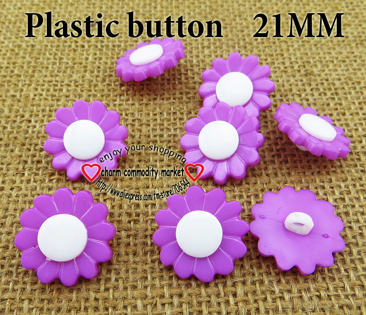 50PCS 21MM purple Dyed Plastic sunflower buttons coat boots sewing clothes accessories P-120-3