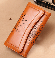 2019 New Hollow Sunflower Women Genuine Leather Wallets Coin Phone Pocket Card Photo Holder Purses Clutch Long Money Clips D524