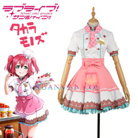 W1175 LoveLive!SunShine!!Aqours Ruby Kurosawa Cosplay Costume Custom Made Pink Dress Career Unawakened Chef Maid Girls Uniform