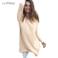 2017 New Mulheres Oversize Knitted Sweater Women V Neck Casual Loose Ladies Autumn Winter Pullovers Sweater