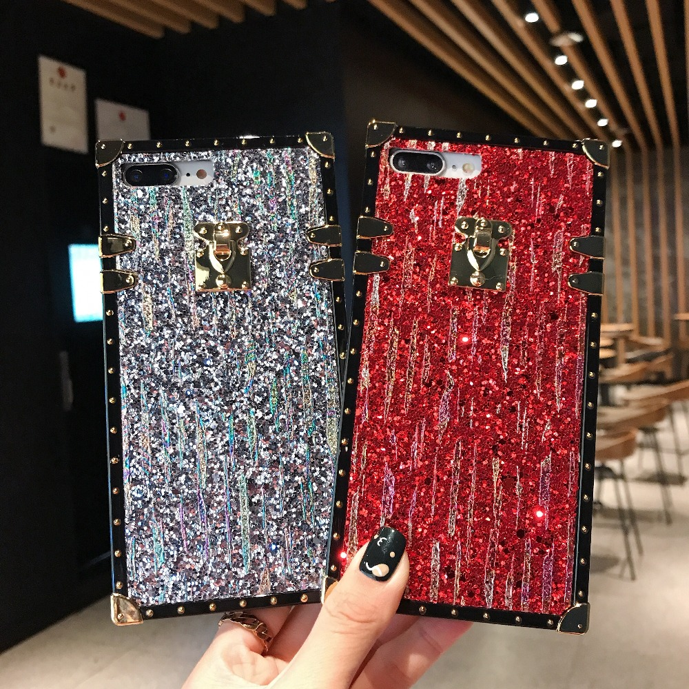 hot sale online 10832 8b713 US $4.39 |Sparkling Square Soft Case For iphone Xs Xs Max XR Cases Meteor  Shower Background Soft Edges for iphone 6 6S 7 8 Plus 9 X Cover-in Fitted  ...