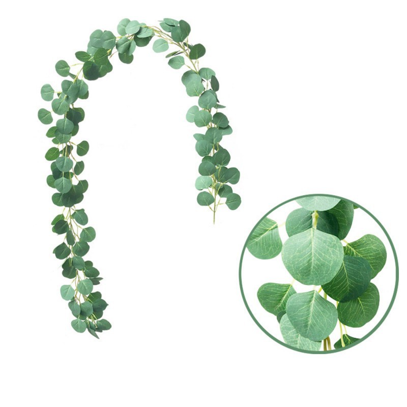 Artificial Ivy green Leaf Garland Plants Vine Simulation Plant Eucalyptus Round Leaf Eucalyptus Leaves Rattan Wedding Decoration in Artificial Plants from Home Garden