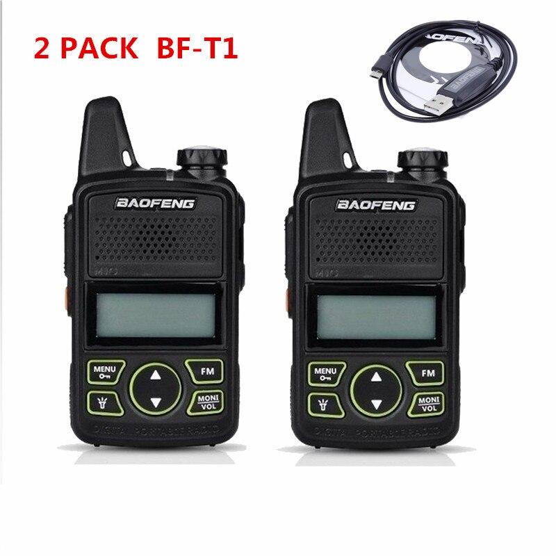 2 pcs baofeng BF-T1 mini talkie walkie UHF 400-470 MHz ham radio station ptt poche FM Portable pofung bf t1 deux façon radio