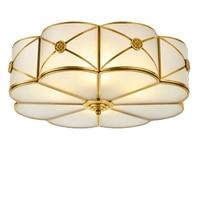 Amerika Stijl Koperen Led Plafondlamp Lamp Glas Cover Toolery Slaapkamer Woonkamer 5W Led Lamp Thuis Restaurant Cafe decoratie