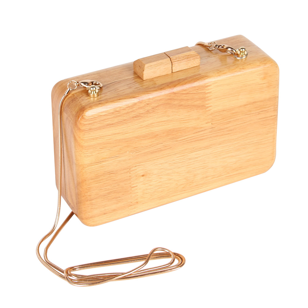 Fashion Brand Wooden Day Clutch Women Evening Bags Chain