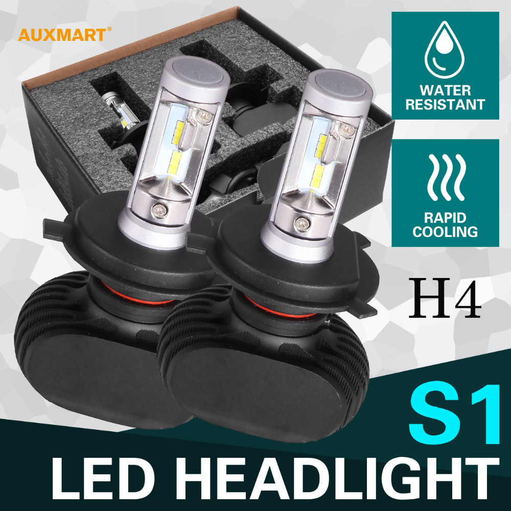 Auxmart H4 HB2 9003 50W Hi Lo beam LED Headlight CSP 6500K 8000LM Headlamps for skoda