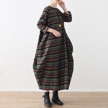 Spring 19 New Original Design Women Loose Art Vintage Colorful Stripe Irregular Hem Dress Cotton Linen female gowns
