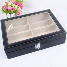(New Arrival)High quality PU leather 8 pairs of sunglasses organizer with clear window