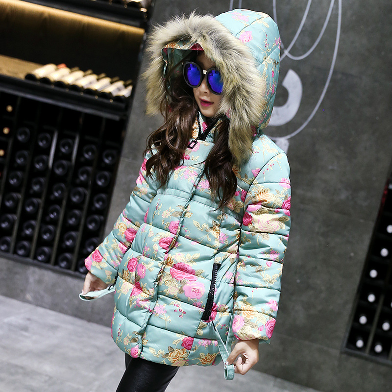 fur hooded flowers printed girls jackets and coats kids winter 2017 teenage little girls padded coats warm long kids clothes