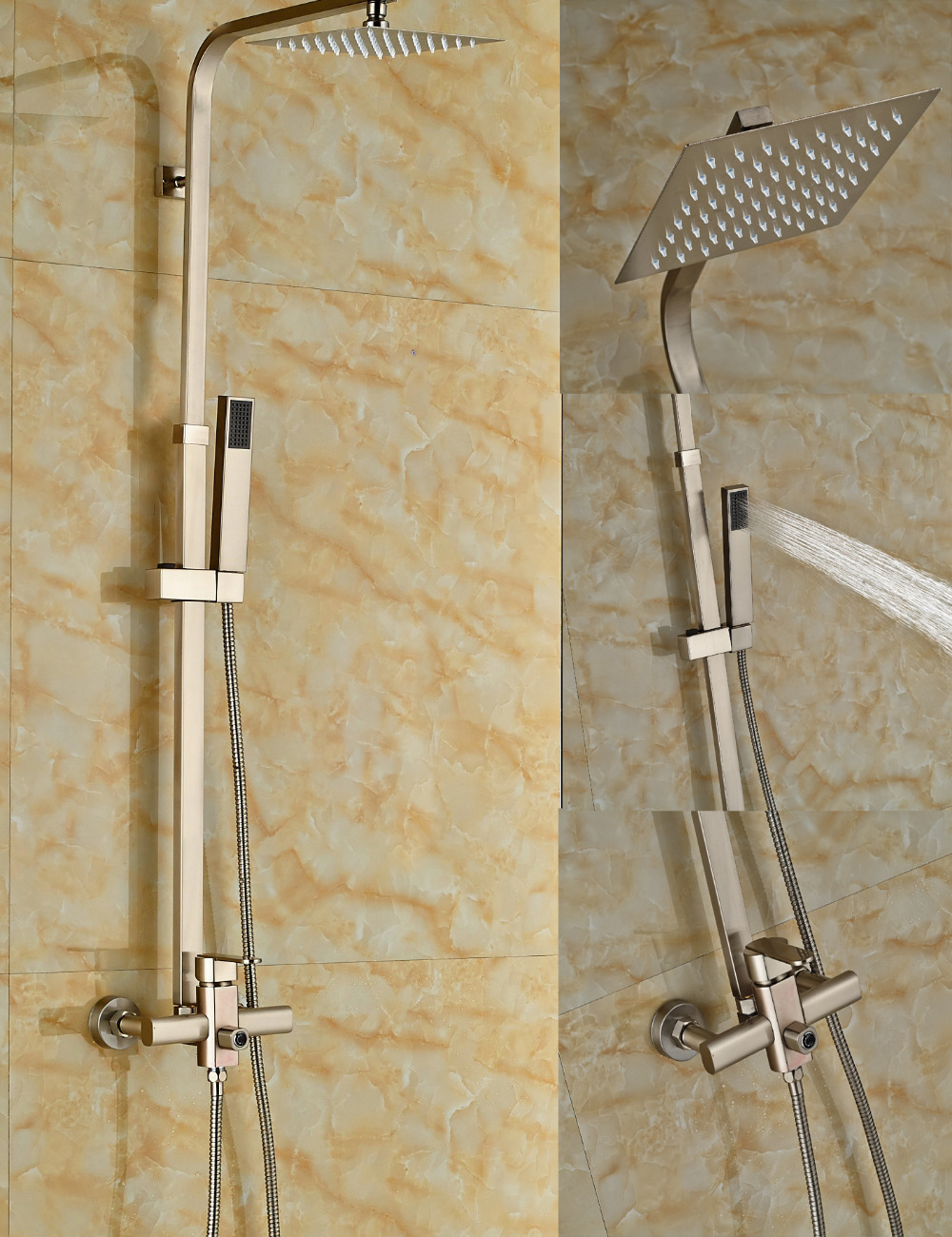 Wholesale And Retail Modern Square Rain Shower Head Single Handle Valve Mixer Tap W/ Hand Shower Sprayer