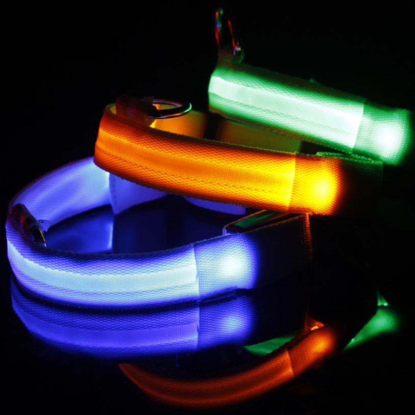 Pet Cat Dog Glow LED Collar Flashing Light Up Nylon Night Safety Collars Supplies 8 Color S M L XL Size USB Charging 3 Glow Mode