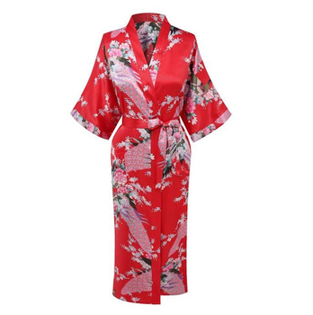 цена на Hot Sale Red Chinese Women Silk Rayon Robe Dress Bridemaids Sexy Wedding Nightgown Kimono Bathrobe Size S M L XL XXL XXXL A-108