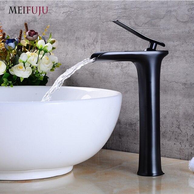 Moderne blanc noir bross couleur salle de bains robinet cascade robinets seul trou d 39 eau froide - Robinet noir salle de bain ...