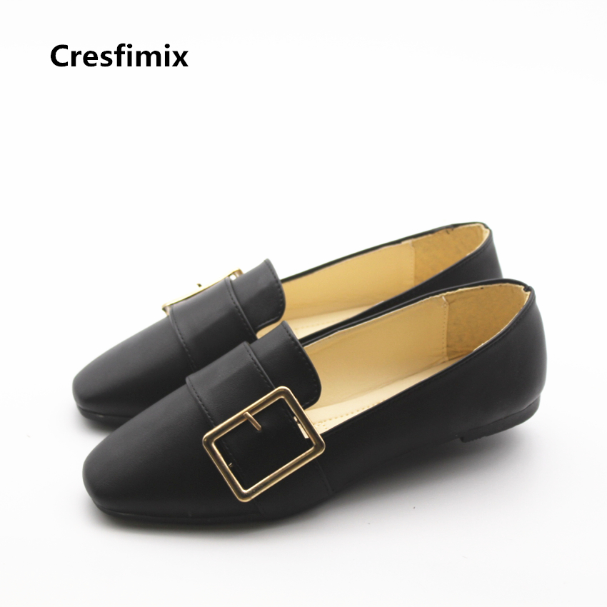 Cresfimix women fashion soft pu leather flat shoes lady cute spring summer soft shoes woman's casual comfy white shoes zapatos cresfimix sapatos femininas women casual soft pu leather flat shoes with side zipper lady cute spring