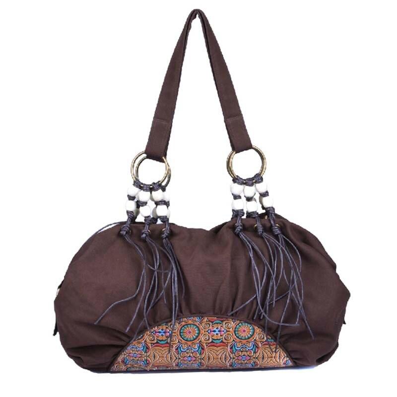 100% QualitäT Retro Stil Frauen Canvas Hobos Handtasche Quaste Damen Perlen Top-griff Weiche Umhängetasche Bolsas Femininas Diversifiziert In Der Verpackung
