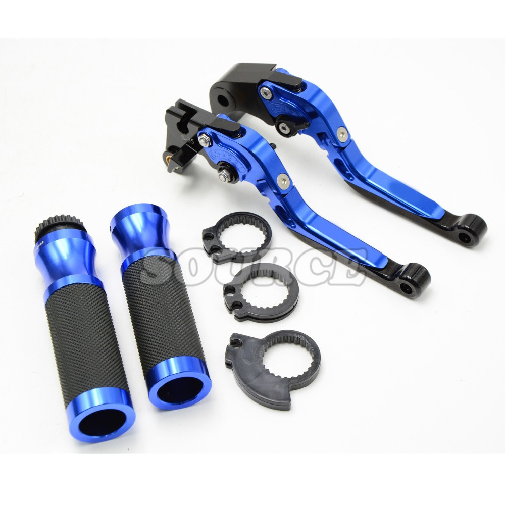 blue motorcycle handlebar handle bar grips 22MM levers brake clutch For Yamaha YZF R1 2004 2005