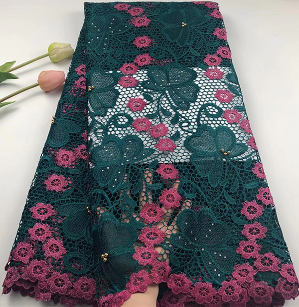 Embroidered african lace fabric high quality african cord lace fabric with stone 5yards nigerian lace fabrics