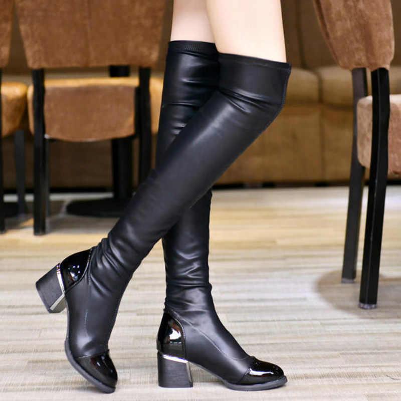 ผู้หญิงรองเท้าบู๊ตเข่าหญิงฤดูหนาวรองเท้าบูทรองเท้าบู๊ทสูงชี้ Toe หนาแฟชั่น PU หนังผู้หญิงฤดูหนาวรองเท้า