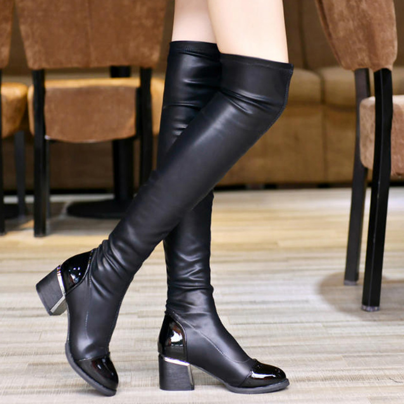 Women Boots Over The Knee Boots Female Winter Boots Knee High Boots Pointed Toe Thick Heel Fashion PU Leather Women Winter Shoes in Over the Knee Boots from Shoes