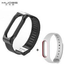 Bracelet en métal + Silicone Courroie De Remplacement pour Xiaomi Mi Bande 2 En Acier Inoxydable Bracelet À Puce Remplacer Accessoires Pour Mi Bande 2