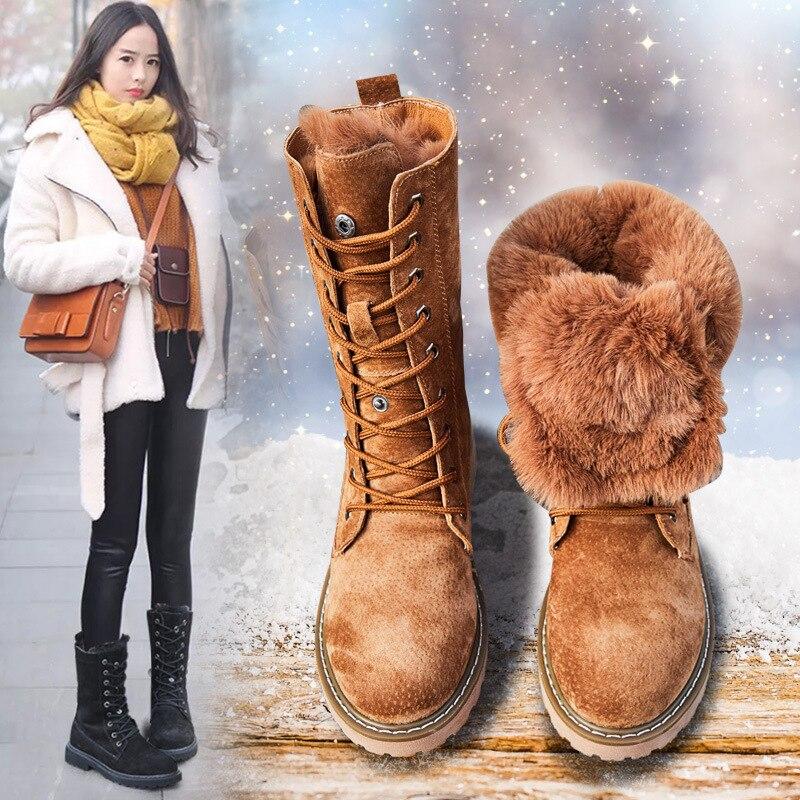 Bottes d'hiver Femmes Bottes de Neige Nouveau Style 2018 Mode Fond Épais Femmes de Véritable En Cuir Chaud En Peluche Boot Femelle Mi -veau Chaussures