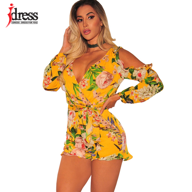 015b5b629b IDress Combishort Women Sexy V Neck Off Shoulder Ruffles Long Sleeve Sashes Playsuit  Floral Print Yellow