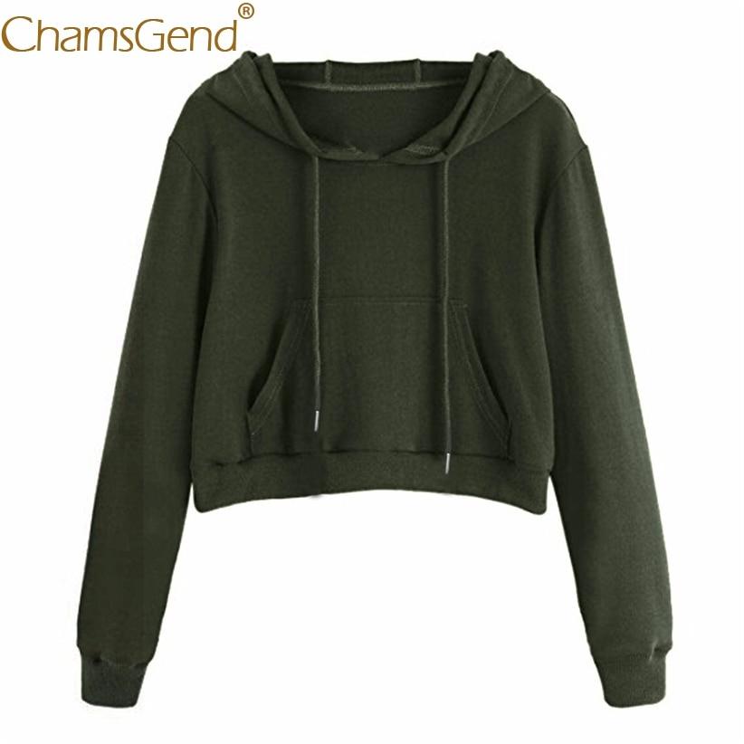 Chamsgend Hoodies Women Girls Casual Crop Top Short Sweatshirts with Pocket Winter hoodies sweatshirts Streetwear 71206
