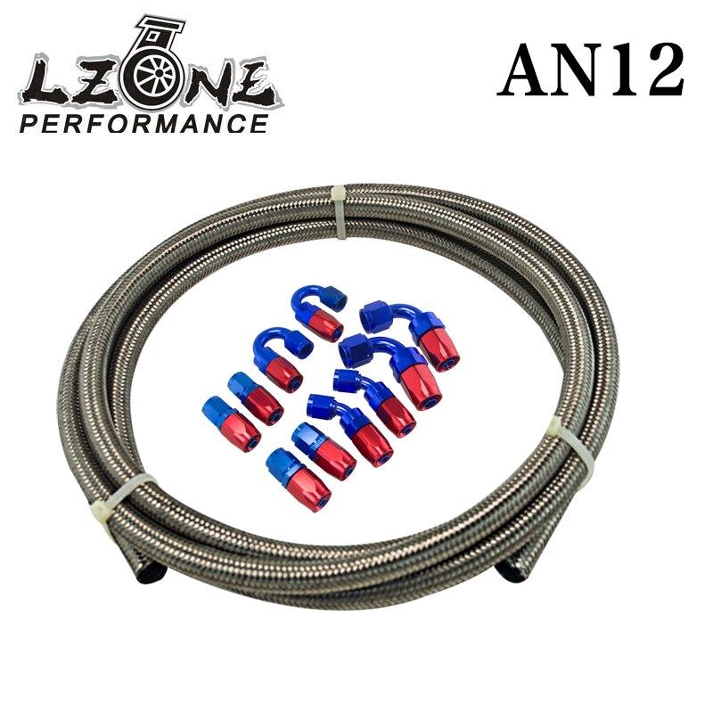 LZONE RACING- AN-12 STEELNESS/STEEL BRAIDED 5M AN12 STAINLESS OIL/fuel line/hose+12AN Fitting 12-AN Hose End Adaptor KIT JR7115+