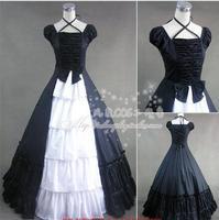 Новый Черный и белый средневековый викторианской Косплэй костюм Готическая Лолита длинное платье бальное платье на Хэллоуин платье костюм